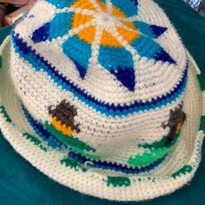 Hand crochet Peruvian rolled hat Alpaca